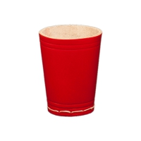 dice cup made from leather - ca. 8,5 cm x 6,5 cm - red