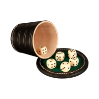 Dice cup set - ca. 8,5 cm x 9 cm - black - leather