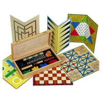 Games Collection - includes 10 games - in wooden Box