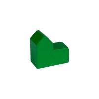 Church - house - city - game pieces - wood - green - 20x19x10mm