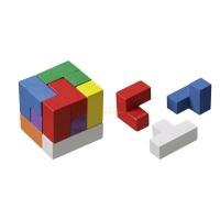 Somawürfel bunt - Robinienholz - 7 Puzzleteile - Knobelspiel - Geduldspiel