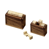 Sarcophagus  - hevea- and samena-wood - 4 puzzle pieces